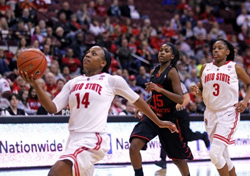 OSU junior guard Ameryst Alston (14)  goes up for a lay up during a game Nov. 16 against St. Francis at the Schottenstein Center. OSU won, 113-97. Credit: Tessa DiTirro / Lantern photographer