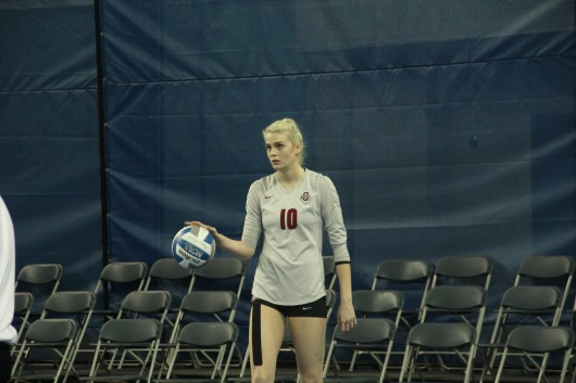 Sophomore middle blocker Taylor Sandbothe waits to serve during a game against Lipscomb on Dec. 5 in Lexington, Ky., during the 1st round of the NCAA Tournament. OSU won, 3-0. Credit: Chris Slack / Lantern photographer