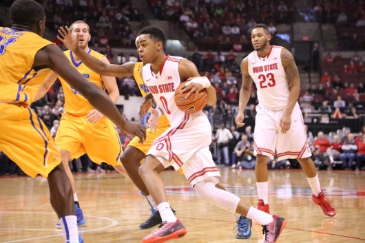 Freshman guard D'Angelo Russell (0) drives the lane during a game against Morehead State on Dec. 13 at the Schottenstein Center. OSU won, 87-71.  Credit: Muyao Shen / Lantern photographer