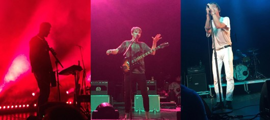 From left: Gus Unger-Hamilton of Alt-J, Dave Bayley of Glass Animals and Matt Schultz of Cage the Elephant perform at CD102.5's Holiday Show on Dec. 1 at the LC Pavilion. Credit: Elizabeth Tzagournis / Lantern reporter