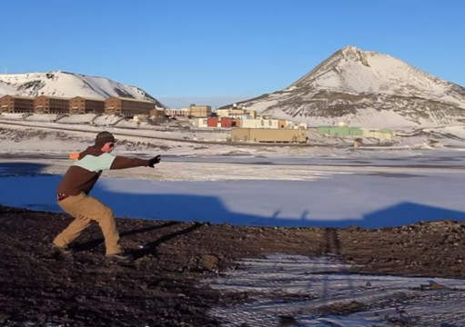 A dancer participates in 'Globe Trot' remotely from Antarctica. Credit: Screenshot of 'Globe Trot'