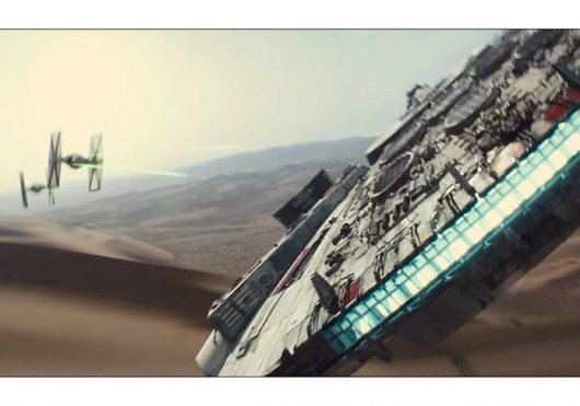 The Millennium Falcon is fired upon by a TIE Fighter in a teaser trailer for 'Star Wars: The Force Awakens.' Credit: Screenshot of trailer