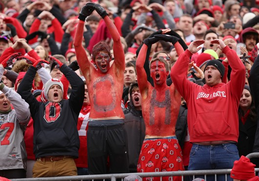 OSU fans participate in a cheer during a game against Michigan on Nov. 29 at Ohio Stadium.  Credit: Mark Batke / Photo editor