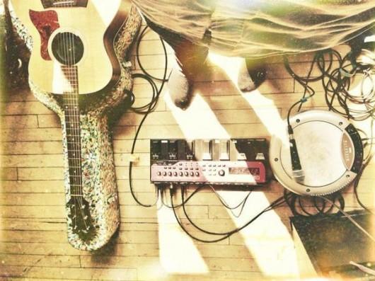 Elijah Aaron Pelnik's setup of his instruments for a dance class at OSU Credit: Courtesy of Elijah Pelnik