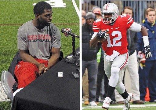 Left: Redshirt-freshman quarterback J.T. Barrett addresses the media Dec. 3 at the Woody Hayes Athletic Center. Barrett had surgery for a fractured ankle on Nov. 30, and has been ruled out for the rest of the season. Credit: Tim Moody / Sports editor Right: Redshirt-sophomore quarterback Cardale Jones (12) carries the ball during a game against Michigan on Nov. 29 at Ohio Stadium. OSU won, 42-28. Credit: Mark Batke / Photo editor