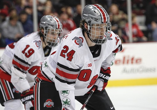 Junior defenseman Craig Dalrymple (24) looks on during a game against Michigan State on Nov. 21 at the Schottenstein Center. OSU won, 3-0. Credit: Kelly Roderick / For The Lantern