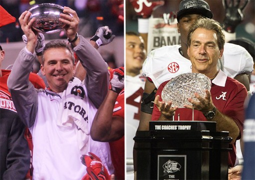 Left: Coach Urban Meyer hoists the Amos Alonzo Stagg Big Ten Championship trophy after the Big Ten Championship Game against Wisconsin on Dec. 6 in Indianapolis. OSU won, 59-0. Credit: Chelsea Spears / Multimedia editor Right: Alabama coach Nick Saban hoists the trophy following a 42-14 win against Notre Dame in the BCS National Championship game at Sun Life Stadium on Jan. 7, 2013, in Miami Gardens, Fla.  Credit: Courtesy of TNS