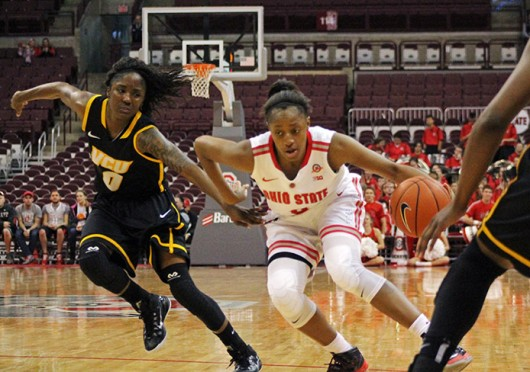 Freshman guard Kelsey Mitchell (3) drives the lane during a game against VCU on Nov. 23 at the Schottenstein Center. OSU won, 96-86. Credit: Nina Budieri / Lantern photographer