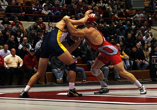 A Nov. 13 wrestling match between OSU and Kent State at St. John Arena. OSU won, 38-3. Credit: Emily Yarcusko / For The Lantern