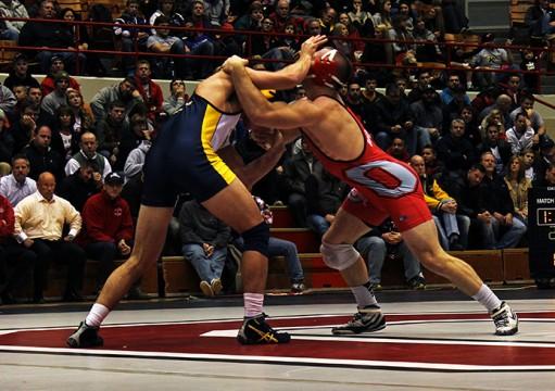 A Nov. 13 wrestling match between OSU and Kent State at St. John Arena. OSU won, 38-3. Credit: Emily Yarcusko / For The Lantern