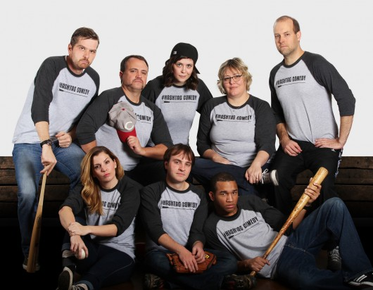 First row, from left: Sarah J. Storer, Matthew White and Joseph M. Moorer Second row, from left: Kenny Greer, Paul Stelzer, Sara Bucher, Darla Munroe and Greg Payne  Credit: Courtesy of #Hashtag Comedy