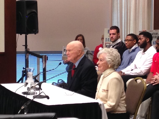 Former Sen. John Glenn (left) and his wife, Annie (right), attend the Board of Trustees meeting Jan. 30. The creation of the John Glenn College of Public Affairs was one of 18 resolutions passed at the meeting. Credit: Jeremy Savitz / Lantern reporter