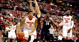 OSU sophomore forward Marc Loving drives to the hoop during a game against Illinois on Jan. 3 in Columbus. Photo credit: Kelly Roderick / For The Lantern