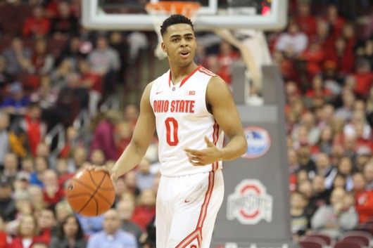 Then-OSU freshman guard D'Angelo Russell dribbles the ball during a game against Maryland on Jan. 29 at the Schottenstein Center. OSU won, 80-56. Credit: Samantha Hollingshead / Photo Editor