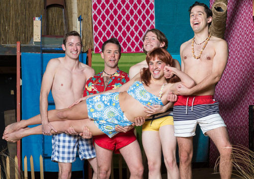 """Provoloney (Andrew Trimmer), Star Cat (Jason Crase), YoYo, (Luke Stewart) Kanaka (Dan Montour) and Chicklet (Nick Hardin) are set to take the stage in """"Psycho Beach Party,"""" premiering at the Garden Theater Friday. Credit: Courtesy of Jason Allen"""