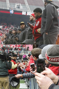 Top: Sophomore runningback Ezekiel Elliott looks at his phone while standing with his teamates during a national championship celebration for the Buckeyes on Jan. 24 at Ohio Stadium. Bottom: Fans snap photos of sophomore runningback Ezekiel Elliott as he interacts with fans during a national championship celebration for the Buckeyes on Jan. 24 at Ohio Stadium. Credit: Kelly Roderick / Lantern photographer