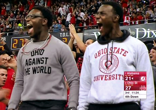 "A shot of a man wearing an ""Ohio Against the World"" shirt during the 2015 Sugar Bowl caused a major boost in the company's sales. Credit: Screenshot from ESPN"