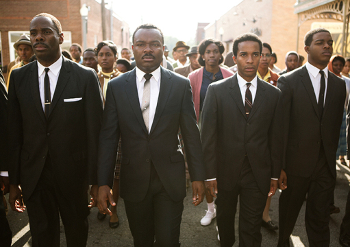From left, Colman Domingo plays Ralph Abernathy, David Oyelowo plays Dr. Martin Luther King, Jr., Andre Holland plays Andrew Young, and Stephan James plays John Lewis in 'Selma' from Paramount Pictures, Pathe, and Harpo Films.  Credit: Courtesy of TNS.