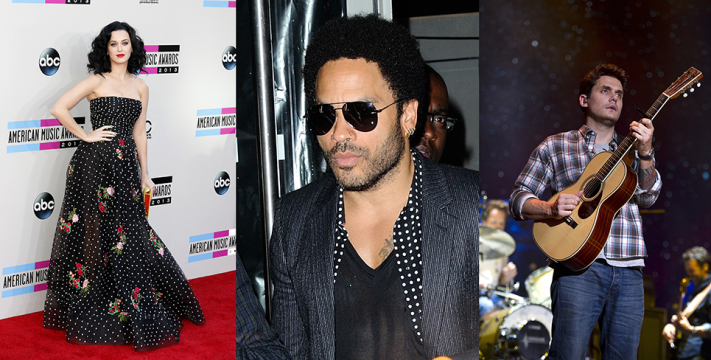 From left, singers Katy Perry, Lenny Kravitz and John Mayer were among those who made pop headlines this week.