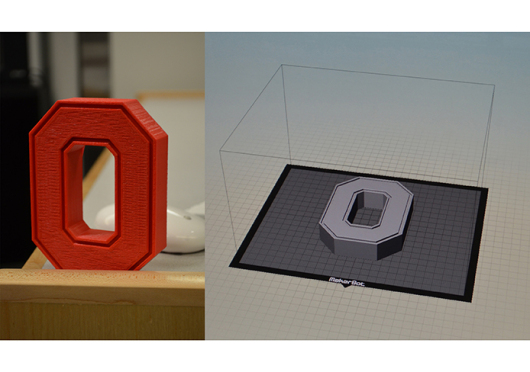 All OSU students, staff and faculty will have the opportunity to use 3-D printing for free at 2 different Digital Union locations on campus. Printing jobs to create various structures, such as the Block 'O' seen above, can be submitted through the Digital Union's website. Credit: Robert Scarpinito / Lantern reporter