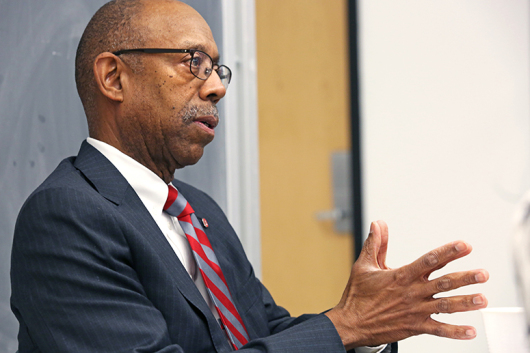 President Michael Drake speaks to the Lantern staff during a Jan. 26 interview. Credit: Jon McAllister / Asst. photo editor