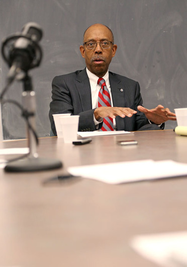 OSU president Michael Drake sat down with The Lantern staff during an editorial meeting on Jan. 26. Credit:  Mark Batke / Photo editor