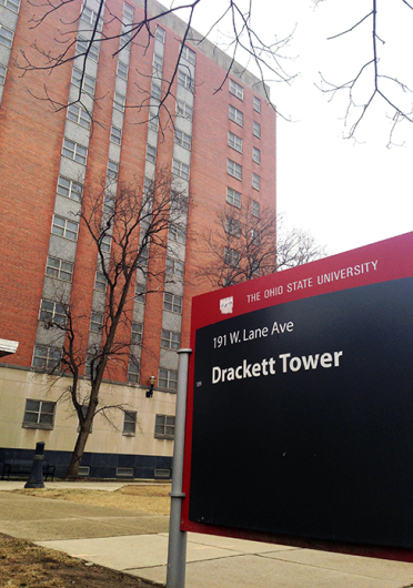 Drackett Tower and Houck House will temporarily close this fall when four new residence halls are scheduled to open. Credit: Eric Weitz / Lantern reporter