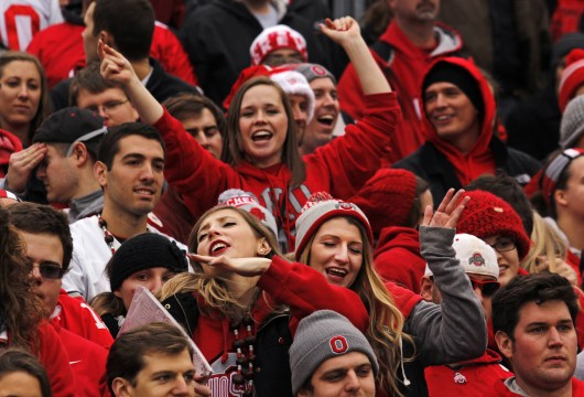 "Fans dance to ""Shake It Off"" by Taylor Swift Nov. 29 during a football game between OSU and Michigan at Ohio Stadium. OSU won, 42-28. Credit: Jon McAllister / Asst. photo editor"