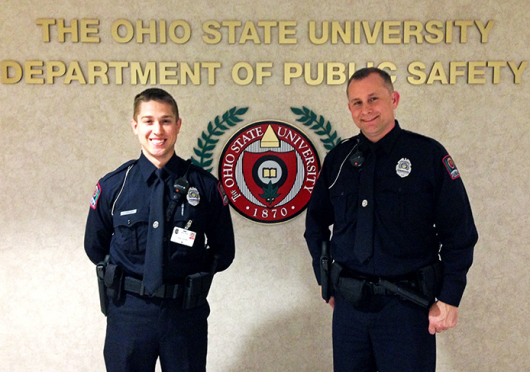 Alan Horujko (left) and John Quinlan are the newest officers in the OSU Police Department. Credit: Eric Weitz / Lantern reporter