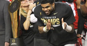 Sophomore running back Ezekiel Elliott celebrates after his offensive player of the game performance in the College Football Playoff National Championship against Oregon on Jan. 12 in Arlington, Texas. OSU won, 42-20. Credit: Mark Batke / Photo editor