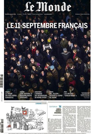 The front page of 'Le Monde' on Jan. 9 Credit: Courtesy of 'Le Monde' on Twitter