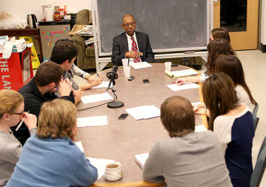 OSU President Michael Drake sat down with The Lantern staff for an interview on Jan. 26. Credit: Mark Batke / Photo editor