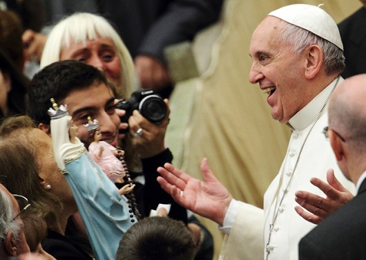 Pope Francis greets people Jan. 21 at the Vatican. Credit: Courtesy of TNS