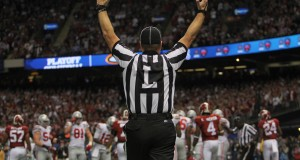 An official signals for a touchdown during a game between Ohio State and Alabama on Jan. 1, 2014. Credit: Lantern file photo