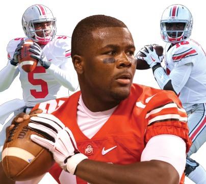 Left: Then-junior quarterback Braxton Miller. Center: Redshirt-sophomore quarterback Cardale Jones. Right: Redshirt-freshman quarterback J.T. Barrett.