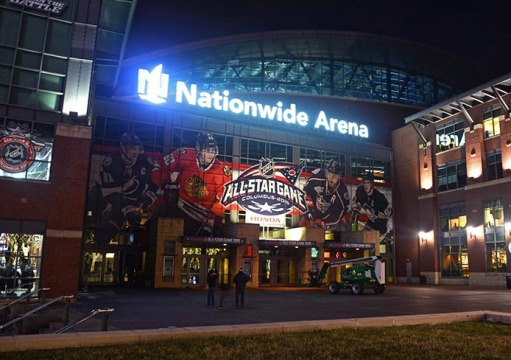 Nationwide Arena in downtown Columbus on Jan. 20. Nationwide Arena, home of the NHL's Columbus Blue Jackets, is set to host the NHL All-Star Game on Jan. 25. Credit: Kevin Stankiewicz / Lantern reporter
