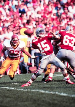 Then-redshirt-senior quarterback Greg Frey (15) throws a pass during a game against USC on Sept. 29, 1990, at Ohio Stadium. Frey was a 3-year starter for the Buckeyes. Credit: OSU athletics