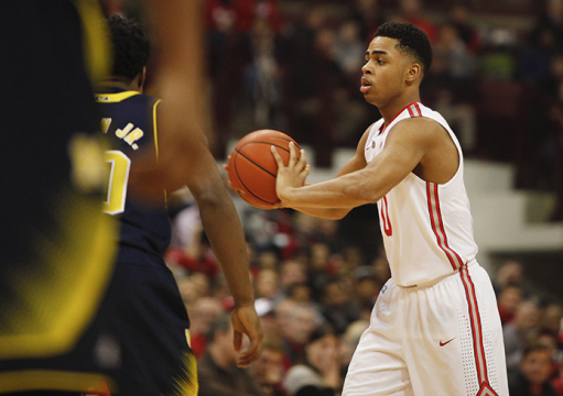 OSU freshman guard D'Angelo Russell (0) passes the ball during a game against Michigan on Jan. 13 at the Schottenstein Center. OSU won, 71-52. Credit: Kelly Roderick / Lantern photographer