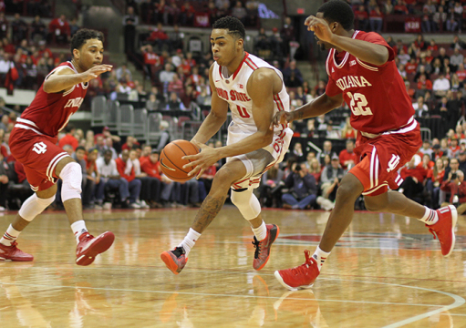 Freshman guard D'Angelo Russell (0) drives the lane during a game against Indiana on Jan. 25 at the Schottenstein Center. OSU won, 82-70. Credit: Sam Hollingshead / Lantern photographer