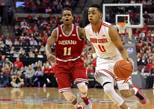 Freshman guard D'Angelo Russell (0) dribbles the ball past Indiana junior guard Yogi Ferrell (11) during a Jan. 25 game at the Schottenstein Center. OSU won, 82-70. Credit: Samantha Hollingshead / Lantern photographer