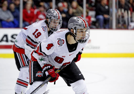 Sophomore defenseman Drew Brevig (4) and senior forward Chad Niddery (19) line up for a faceoff during a game against Michigan State on Nov. 21 at the Schottenstein Center. OSU won, 3-0. Credit: Kelly Roderick / For The Lantern