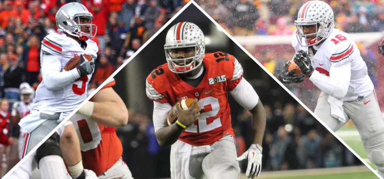 Left: Then-junior quarterback Braxton Miller during a game against Illinois on Nov. 16, 2013, in Champaign, Ill. Center: Redshirt-sophomore quarterback Cardale Jones during the College Football Playoff National Championship against Oregon on Jan. 12 in Arlington, Texas. Right: Redshirt-freshman quarterback J.T. Barrett during a game against Minnesota on Nov. 15 in Minneapolis.