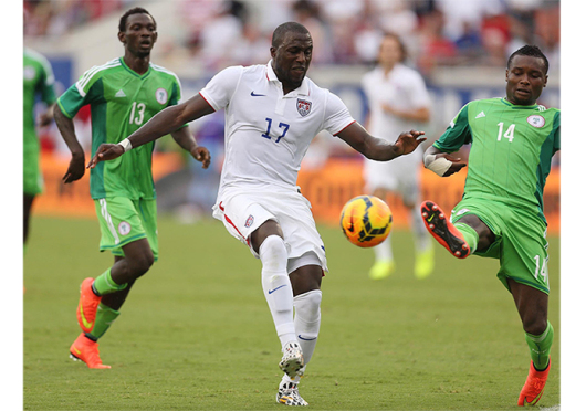 US striker Jozy Altidore (17) advances the ball against Nigeria during a friendly match on June 7 in Jacksonville, Fla. The US won, 2-1, with Altidore scoring both goals. Altidore moved back to Major League Soccer from Sunderland in England during the January transfer window. Credit: Courtesy of TNS