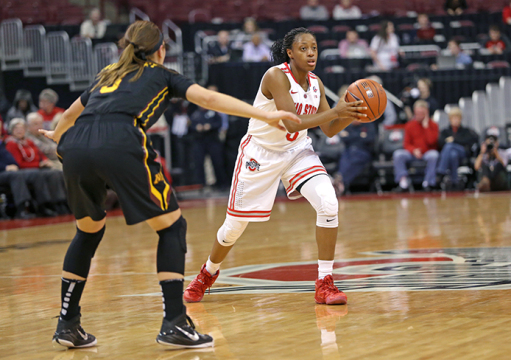 Freshman guard Kelsey Mitchell (3) dribbles the ball during a game against Minnesota on Jan. 15 at the Schottenstein Center. OSU lost, 76-72. Credit: Mark Batke / Photo editor