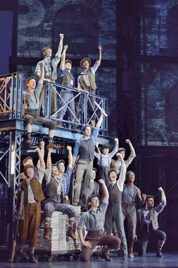 Dan DeLuca as Jack Kelly (center) and the original North American Tour company of 'Newsies.' Credit: Courtesy of Deen van Meer