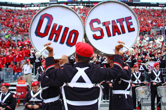 OSU Marching Band members play during a game against Kent State on Sept. 13 at Ohio Stadium. OSU won, 66-0. Credit: Mark Batke / Photo editor