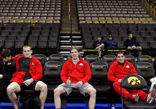 Freshman Kyle Snyder (second from left), redshirt-freshman Bo Jordan (middle) and redshirt-freshman Nathan Tomasello were named co-captains for the Buckeyes dispite being in their first years of collegiate competition.  Credit: Patrick Kalista / Lantern reporter