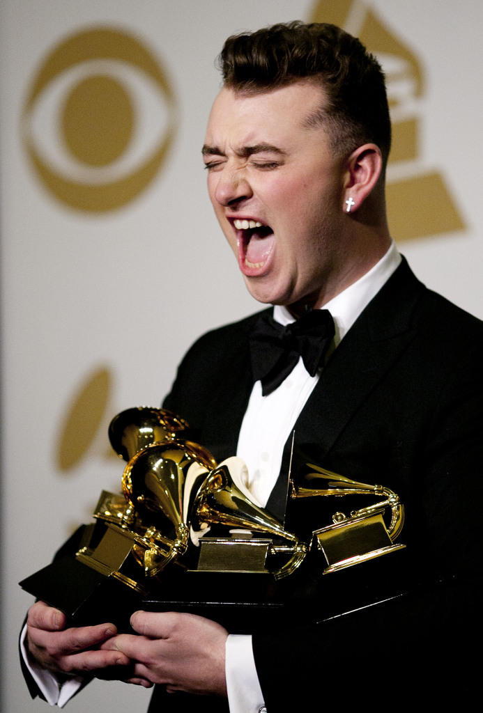 Sam Smith in the press room during the 57th Grammy Awards at the Staples Center on Feb. 8. Credit: Courtesy of TNS.