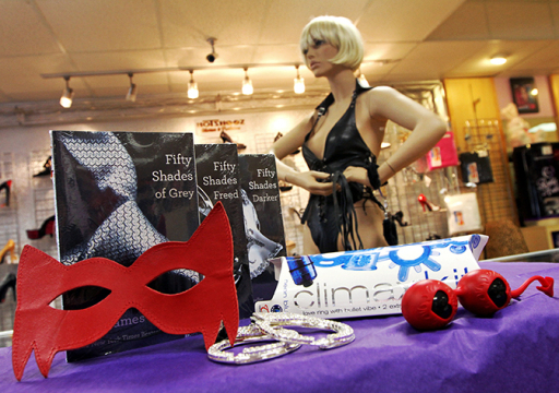 "Xanadu Boutique, an erotica shop in South Florida, has seen an increase in sales of adult toys and leather clothing since the rise in popularity of the book ""50 Shades of Grey."" Xanadu now sells trilogy with a gift set, which includes items (pictured) such as a leather mask, handcuffs, the climax kit, a leather outfit and Ben Wa balls on a string. (Sarah Dussault/Sun Sentinel/MCT)"