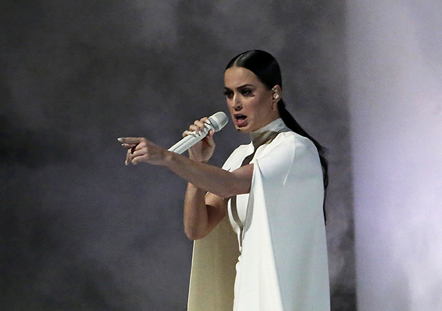 Katy Perry's performance at the 57th Annual Grammy Awards at Staples Center on Feb. 8 was one of a few instances in the events that addressed social issues.  Credit: Courtesy of TNS>